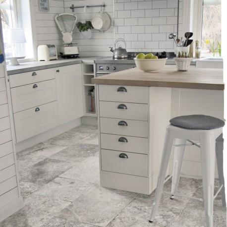 Bodenplatten - Travertin  grau - 1,2 cm stark