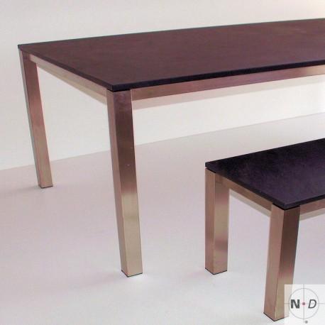 Naturstein Tisch mit Gestell aus Edelstahl - 220 x 100